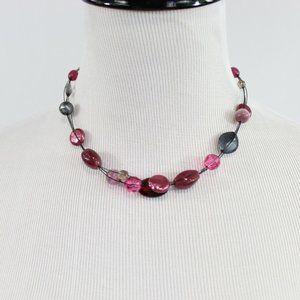 Lia Sophia Short Multi-Strand Beaded Necklace Pink